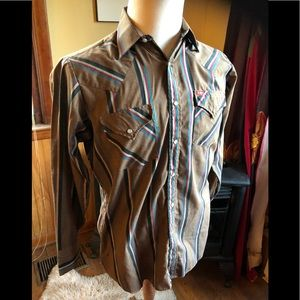 VTG Western Striped Pearl Snap Mens Oxford Shirt M